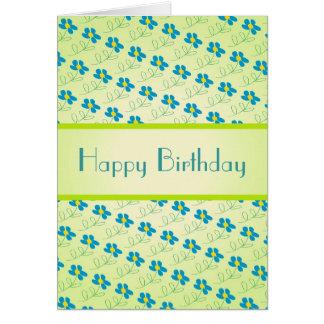 Geburtstags-Karte mit blauer Blumen-Kunst Karte