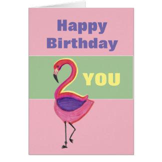 Geburtstags-Karte mit einem Flamingo Grußkarte