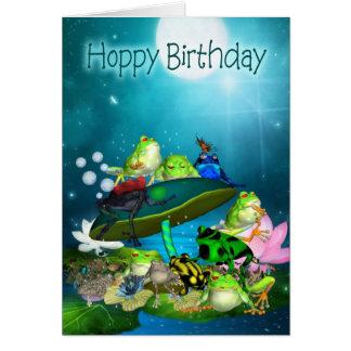 Geburtstags-Karte mit Fantasie-Fröschen -