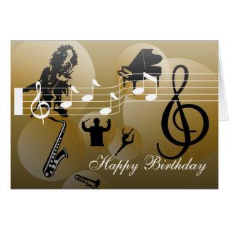 Geburtstags-Karten-Liebe Musik-Gold Karte