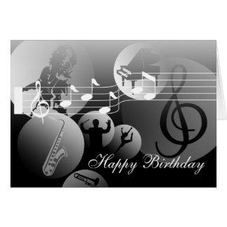 Geburtstags-Karten-Liebe Musik-Grau Mitteilungskarte