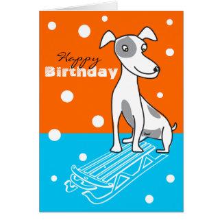 Geburtstags-Karten-minimales Button auf Schlitten Mitteilungskarte