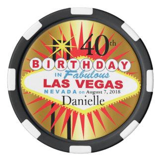 Geburtstags-Kasino-Chip Las Vegass 40. Poker Chips Set