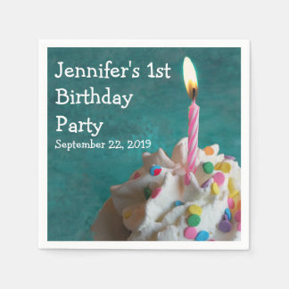Geburtstags-Kerzen-kleiner Kuchen Serviette