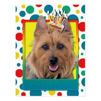 Geburtstags-kleiner Kuchen - australisches Terrier Postkarte