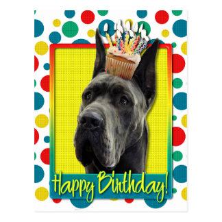 Geburtstags-kleiner Kuchen - Deutsche Dogge - Grau Postkarte