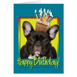Geburtstags-kleiner Kuchen - französische Bulldogg Karte
