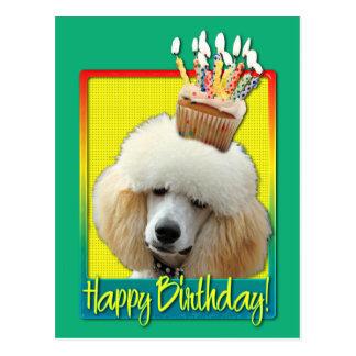 Geburtstags-kleiner Kuchen - Pudel - Aprikose Postkarte