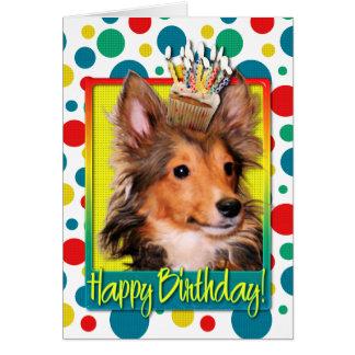 Geburtstags-kleiner Kuchen - Sheltie Welpe - Karte