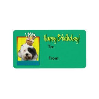 Geburtstags-kleiner Kuchen - tibetanisches Terrier Adressaufkleber