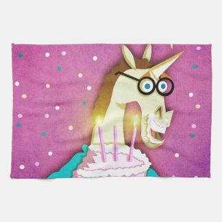 Geburtstags-Kuchen-Einhorn Geschirrtuch
