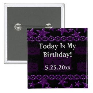 Geburtstags-Kuchen-Felsen-Stern in Lila mein Quadratischer Button 5,1 Cm
