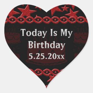 Geburtstags-Kuchen-Rockstar im Rot mein Geburtstag Herz Sticker