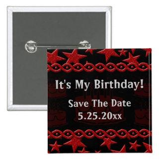 Geburtstags-Kuchen-Rockstar im Rot mein Geburtstag Quadratischer Button 5,1 Cm