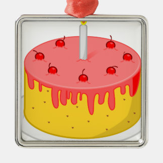 Geburtstags-Kuchen Silbernes Ornament