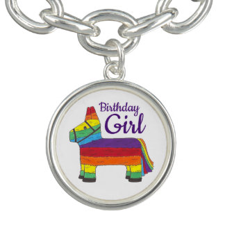 Geburtstags-Mädchen-Regenbogen Piñata lila Armbänder