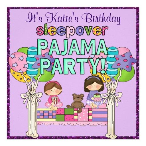 geburtstags m dchensleepover pyjama party quadratische 13 3 cm einladungskarte zazzle. Black Bedroom Furniture Sets. Home Design Ideas