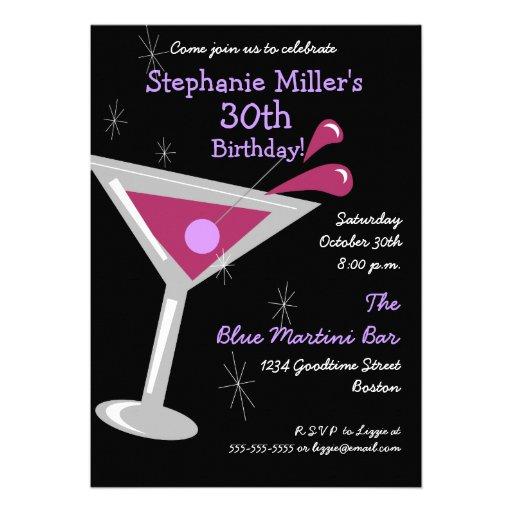 Geburtstags-Martini-Cocktail-Einladung
