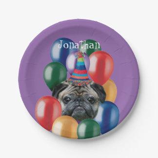 Geburtstags-Mopshundepapierplatte Pappteller 17,8 Cm