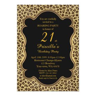 Geburtstags-Party 21., Cheetah, Schwarzes u. Gold 12,7 X 17,8 Cm Einladungskarte