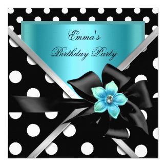 Geburtstags-Party-blaue aquamarine schwarze Quadratische 13,3 Cm Einladungskarte