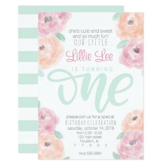 Geburtstags-Party-Blumeneinladung des kleinen 12,7 X 17,8 Cm Einladungskarte