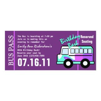 Geburtstags-Party-Bus-Durchlauf 10,2 X 23,5 Cm Einladungskarte