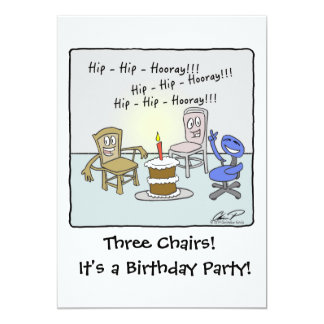 Geburtstags-Party Einladung: 3 Stühle Karte