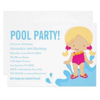 Geburtstags-Party Einladung des Pool-Party-|