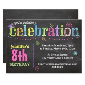 Geburtstags-Party Einladung-Kreide + Neon Karte