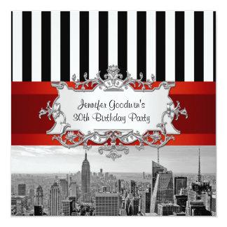 Geburtstags-Party Einladung NY StadtSkyline BW B2