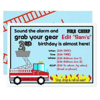 Geburtstags-Party Einladungen Feuerwehrmann des