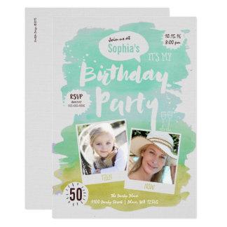 Geburtstags-Party Einladungs-FrauenWatercolor 12,7 X 17,8 Cm Einladungskarte