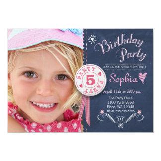 Geburtstags-Party Einladungs-Mädchen-Tafel-Foto 12,7 X 17,8 Cm Einladungskarte