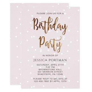 Geburtstags-Party Einladungs-RosaConfetti Karte