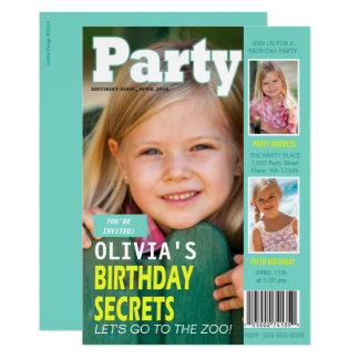 Geburtstags-Party Einladungs-Titelseiten-3 Fotos Karte