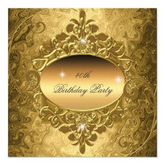 Geburtstags-Party-Gold auf GoldmetallGlitter Quadratische 13,3 Cm Einladungskarte
