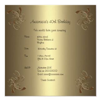 Geburtstags-Party-Goldblumen40. Quadratische 13,3 Cm Einladungskarte