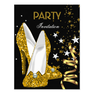 Geburtstags-Party-Goldgelb-Schuhe 10,8 X 14 Cm Einladungskarte