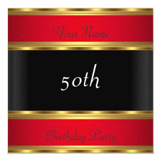 Geburtstags-Party-Goldrotes Schwarzes Quadratische 13,3 Cm Einladungskarte