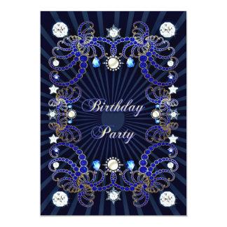 Geburtstags-Party laden mit Massen der Juwelen ein 12,7 X 17,8 Cm Einladungskarte