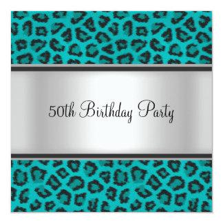 Geburtstags-Party-Leopard-Pelz aquamarin Karte