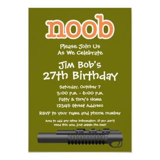 Geburtstags-Party - lustiger Noob Gamer 12,7 X 17,8 Cm Einladungskarte