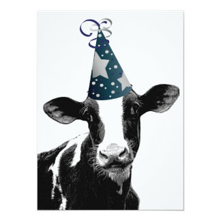 Geburtstags-Party-oder Baby-Duschen-Party-Kuh! 14 X 19,5 Cm Einladungskarte
