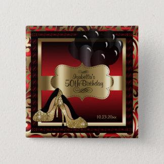 Geburtstags-Party   rot und Gold Quadratischer Button 5,1 Cm
