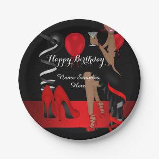 Geburtstags-Party-roter schwarzer Schuh-hoher Pappteller