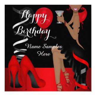 Geburtstags-Party-roter schwarzer Schuh-hoher Quadratische 13,3 Cm Einladungskarte