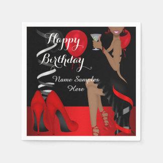 Geburtstags-Party-roter schwarzer Schuh-hoher Servietten