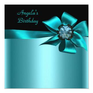 Geburtstags-Party-Schwarz-aquamariner blauer Bogen Quadratische 13,3 Cm Einladungskarte