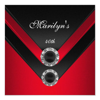 Geburtstags-Party-Schwarz-rotes Diamant-Juwel Karte